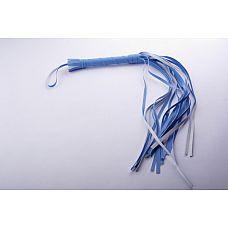 Плеть гладкая (флоггер) голубая с жесткой рукоятью общей длиной 65 см 5017-5  Гладкая плеть (флоггер) изготовлена из искусственной кожи.