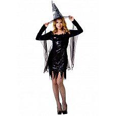Костюм ведьмочки SM 02898OS  Костюм состоит из:  платья с вшитой накидкой  головного убора  чулок  Идеальный женский образ для костюмированного мероприятия № костюм «Ведьмочка».