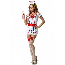 Костюм доктор Сьюзи SM 02896OS  Костюм состоит из:  платья  головного убора  пояса  стетоскопа  чулок  Облегающее короткое платье в красно-белом окрасе подчеркивает всю женскую фигуру.