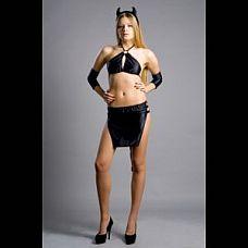 Костюм Black Demonia  Атласный костюм черного цвета. В комплект входит бюст, юбка с хвостиком, рожки, пара налокотников.
