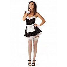 """Костюм """"Домработница"""" черный 02158ML  Открытые плечи, облегающий лиф, юбочка с кружевным подъюбником, маленький фартучек № костюм домработницы для карнавала или тематической вечеринки будет идеальным выбором."""