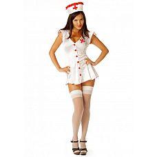 """Костюм """"Медсестра"""" белый 02203ML  Беленький с красными крупными пуговицами халат, облегающий фигуру, с расклешенной коротенькой юбочкой № эротический костюм медсестры выгодно подчеркивает фигуру."""
