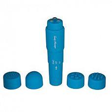 Голубая виброракета FUNKY MASSAGER - 10 см.  Яркий водонепроницаемый стимулятор из бархатистого пластика.