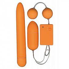 Набор оранжевых стимуляторов FUNKY FUN BOX   Набор из вибратора, вагинальных шариков и вибрирующего яйца с дистанционным управлением.