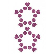 """Пестисы открытые """"Круги и сердца"""" фиолетовые SH-OUNS015PUR  Пестисы   современный популярный вид накладок, венчающий одну из самых женственных эрогенных зон   соски."""