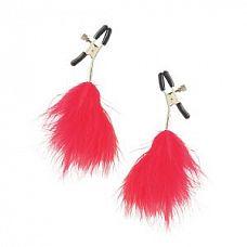 Зажимы на соски с красными перьевыми кисточками FEATHER   Зажимы на соски с красными перьевыми кисточками FEATHER.