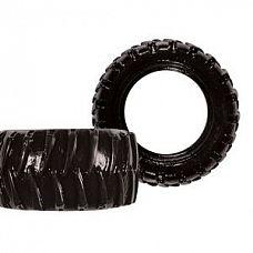 Чёрная эрекционная шина TREADS MENS RING WIDE   Упругое кольцо  черного цвета в виде шины.Хорошо растягивается.