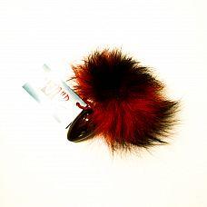 Анальная пробка с красно-черным заячьим  хвостом чёрного цвета  HT40black/red-black