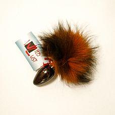 Анальная пробка с оранжево-черным заячьим  хвостом чёрного цвета 40мм HT40black/orange