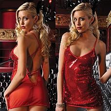 Красное платьице на бретелях с трусиками STM-9357red OS  Элегантное, легкое платьице с неглубоким декольте, расшитое блестящими пайетками.