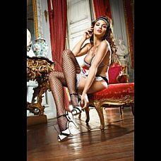 Чёрные чулки с белой кружевной резинкой  Shiny French Maid  Откровенные высокие черные чулки - подойдут к любому комплекту образа служанки.