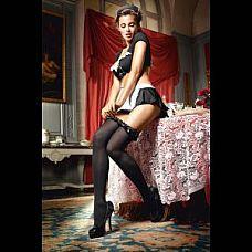 Чёрные чулки с оборками и бантами Mischievous French Maid  Высокие черные чулки - идеально подойдут к любому костюму.