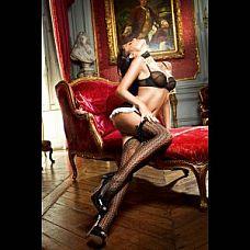 Чёрные ажурные чулки с бантами Privat French Maid   Высокие черные узорчатые чулки подойдут к любому вызывающему образу.