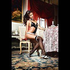 Чёрные чулки с виниловой резинкой и белыми оборками Private French Maid  Высокие черные чулки в мелкую сетку на виниловой резинке - идеальное дополнение к костюму соблазнительной официантки.