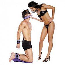Набор Purple Pleasure Bondage Set   В комплект входят, мягкие фиксаторы на ноги и на руки, с регулируемым диаметром, соединяются между собой металлическими карабинами, пластиковый кляп на ремне, маска на глаза черного цвета, кисточка  и надувная подушечка-подложка.