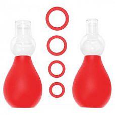 Красный набор для стимуляции груди   Вакуумный стимулятор для сосков красного цвета.