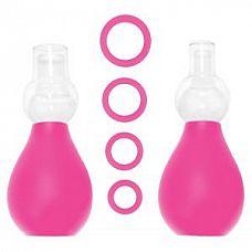 Розовый набор для стимуляции груди   Вакуумный стимулятор для сосков розового цвета.