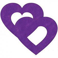 Фиолетовые пестисы на грудь в форме сердечек  Фиолетовые пестисы на грудь в форме сердечек.