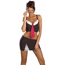 Эротический костюм секретаря  Эротический костюм секретаря (топ и юбка черного цвета в белую полоску и красный галстук).