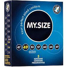 Презервативы MY.SIZE №3 Размер 49 2462MS  Ширина : 49mm Высота : 160mm Материал : Латекс Форма : Цилиндрическая Лубрикант: Силикон Резервуар: Да Толщина : 0.