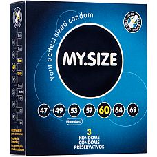 Презервативы MY.SIZE №3 Размер 60 2601MS  Ширина : 60mm Высота : 193mm Материал : Латекс Форма : Цилиндрическая Лубрикант: Силикон Резервуар: Да Толщина : 0.
