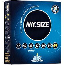 Презервативы MY.SIZE №3 Размер 69 4602MS  Ширина : 69mm Высота : 223mm Материал : Латекс Форма : Цилиндрическая Лубрикант: Силикон Резервуар: Да Толщина : 0.