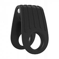 Двойное чёрное эрекционное кольцо с вибрацией  Инновационный двойной дизайн, закруглен для удобства использования.