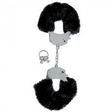 Металлические наручники с чёрным мехом   Качественные наручники с черным мехом из серии Limited Edition.
