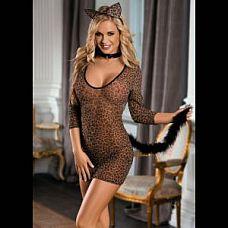 Эротический костюм кошки: платье, трусики-стринг, галстук и ушки  Костюм кошки: платье с рукавами и меховым хвостиком.
