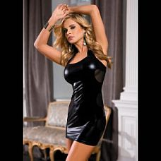 Облегающее платье с прозрачными вставками на спинке  Эластичное платье из ткани с эффектом wetlook, с прозрачными вставками, открытой спинкой.