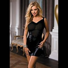Эффектное платье с вставкой-сердечком и открытой спинкой  Платье из ткани с эффектом wetlook, с вставкой из прозрачной эластичной сетки, с вырезом на спине.