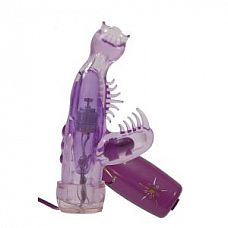 Фиолетовый мини-вибратор со стимулятором клитора - 10 см.  Фиолетовый мини-вибратор со стимулятором клитора.