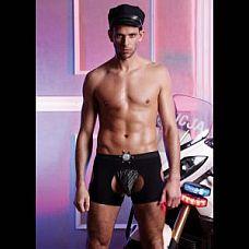 Мужской игровой костюм полицейского   Костюм полицейского из 2 предметов: трусы-стринги на эластичной резинке и матовые шорты со значком.