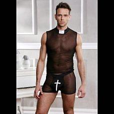 Мужской игровой костюм священника   Костюм священника из 2х предметов: прозрачная майка с воротником-стойкой на застежке-липучке и трусы-шорты.