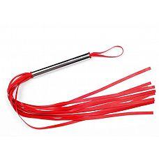 Красная резиновая плеть с металлической рукоятью - 60 см.  Плеть средняя, изготовлена из натурального латекса, имеет 10-12 хвостов .