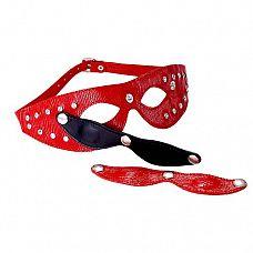 Красная кожаная маска со съёмными шорами  Изготовлена из натуральной кожи с велюровой подкладкой.
