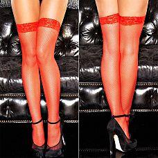 Красные чулочки в сетку с кружевной резинкой - Poison  Красные классические чулки в некрупную сетку с резинкой из цветочных кружев обжигают взгляд, так и хочется прикоснуться к ножкам, украшенным такими огненными чулочками, и выяснить, насколько они отражают нрав хозяйки!