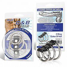 Хомут на пенис из трех металлических колец и кольца для привязи 3 RING GATES OF HELL  Хомут, состоящий из трех стальных колец разного диаметра и D-образного маленького колечка.