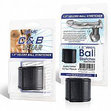 Хомут-утяжка для мошонки из искусственной кожи на липучке VELCRO BALL STRETCHER- 4 см.  Хомут-утяжка для мошонки на липучке, выполненный из качественной искусственной кожи.