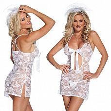 Свадебное секси-платье  Кружевное платье белого цвета, спереди с вырезом в виде капельки и атласным бантом.