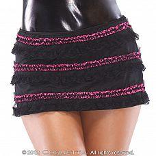 Юбочка с контрастным кружевом  Очаровательная, коротенькая юбочка облегающего силуэта с низкой посадкой.