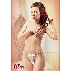 Белоснежные стринги с доступом Alice 54-56 11037-54-56Lola  Миниатюрные белоснежные трусики-стринги с доступом.
