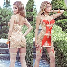 Сорочка с кружевной спинкой и контрастной вставкой SEXY TERRACOTTAS  Обтягивающее двухцветное платье - кружева и плотная контрастная вставка.