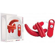 Красный мини-вибратор с 7 функциями - 11,5 см.  Красный мини-вибратор с 7 функциями. Идеален для одновременного массажа вагины и клитора.