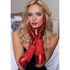 Комбинированные перчатки до локтя  Перчатки длиной до локтя с комбинацией материалов - ажурного гипюра и эластичного стрeйча.