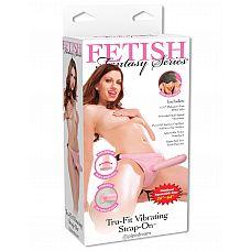 Фаллоимитатор с креплением TRU-FIT VIBRATING STRAP ON женский с вибрацией розовый  Женский страпон с трусиками и вибрацией TRU-FIT VIBRATING STRAP ON для максимального удовольствия.