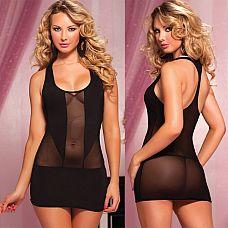 Короткое полупрозрачное платье  Однотонное эластичное платье с квадратным вырезом декольте.