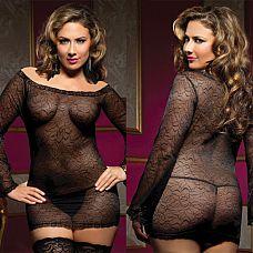 Прозрачное платьице увеличенного Размера с длинными рукавами и трусиками  Секси-платьице, отделанное кружевом, с открытыми плечиками и длинными рукавами.