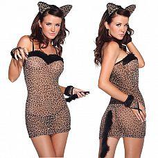 Сексуальное платье тигрицы  Игривый комплект для сексуальной тигрицы - полупрозрачное платье с принтом, на тонких бретельках.