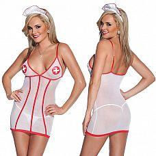Платье Медсестры  Платье медсестры из тянущегося материала с глубоким вырезом и красным кантом.